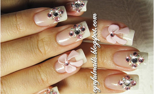 Pink Bow And Rhinestone Nail Art