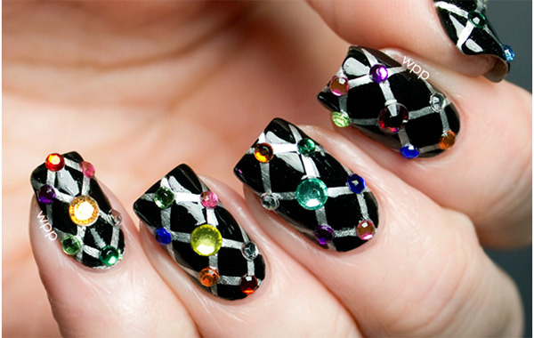 Quilted Nail Design With Rhinestones