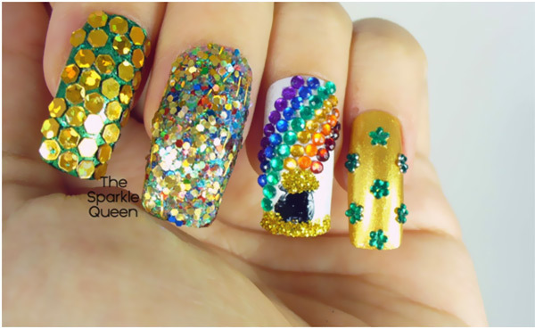 Top 10 beautiful rhinestone nail art designs trending today rainbow rhinestone nail art prinsesfo Image collections