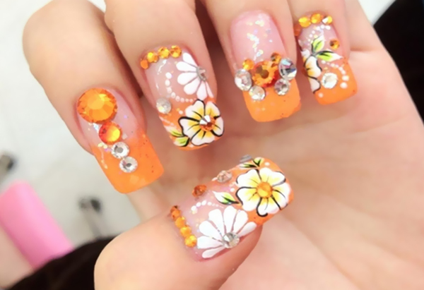 Spring Flower Nail Art With Rhinestones