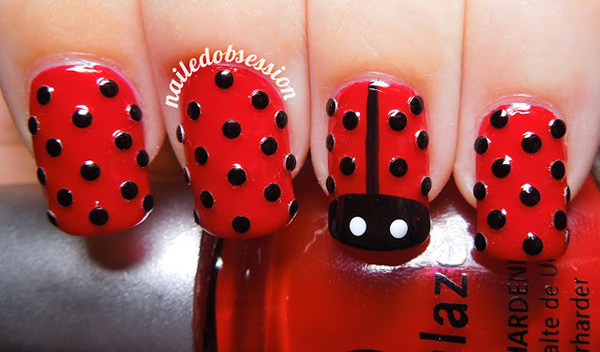 Studded Lady Bug Nail Art