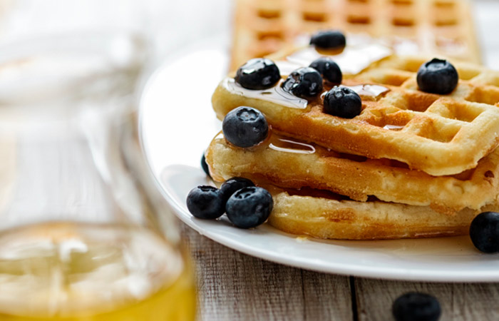 Vegetarian Breakfast Recipes - Oatmeal Blueberry Waffles