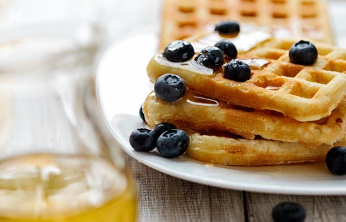 Vegetarian Breakfast Recipes - Oatmeal Blueberry Waffles