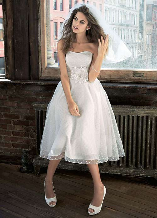 Simple Second Wedding Dresses - Organza Tea Length Dress