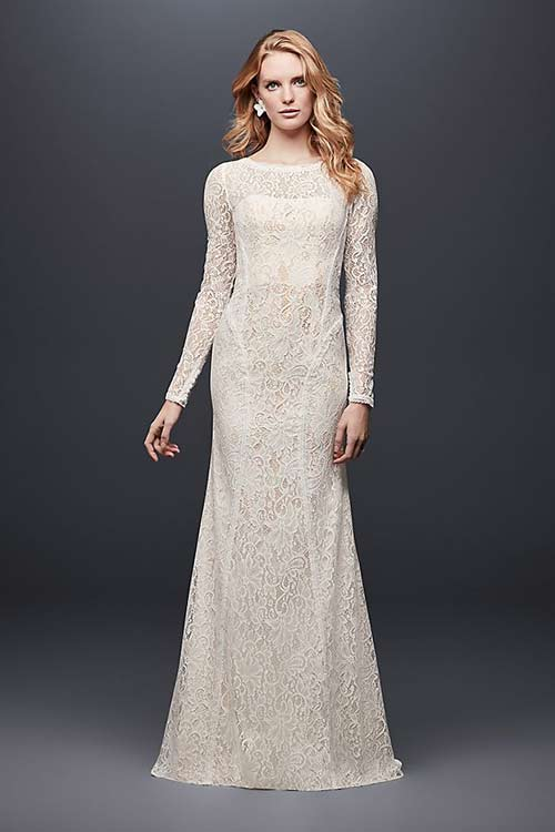 Simple Second Wedding Dresses - Lace Sheath Dress With Full Sleeves