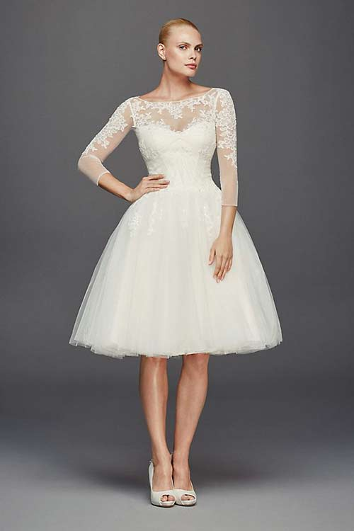 Simple Second Wedding Dresses - Knee Length Lace Sheath Dress
