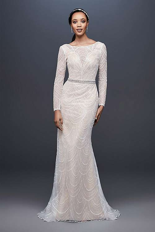 Simple Second Wedding Dresses - Sequin Sheath Wedding Dress