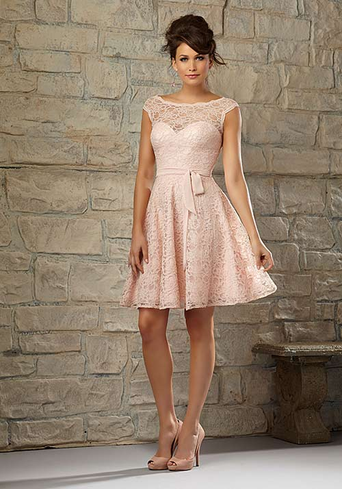 Simple Second Wedding Dresses - A-Line Knee Length Lace Dress In Blush Pink