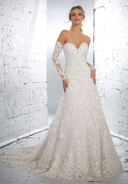 Simple Second Wedding Dresses - Ball Gown Style Full Sleeves Lace Dress
