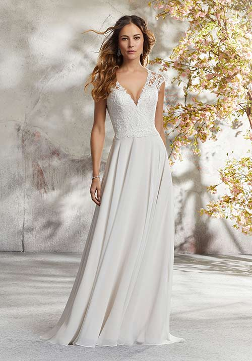 2. A-Line Chiffon Dress For Brides Over 40