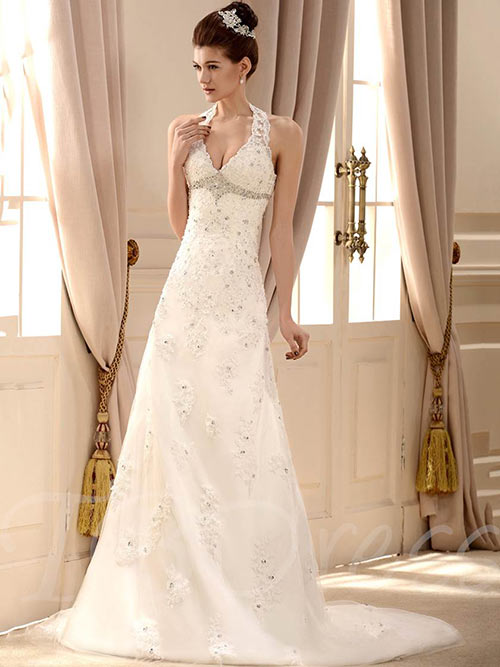 f66c60d0641b5 Simple Second Wedding Dresses - A-Line Princess Dress With A Train