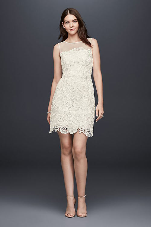 Simple Second Wedding Dresses - Informal Lace Short Dress With Illusion Sleeves