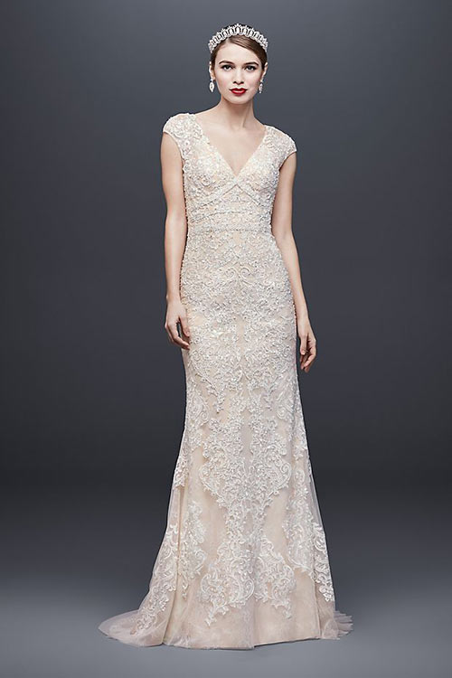 Simple Second Wedding Dresses - Ivory Plunge V-Neck Sheath Dress