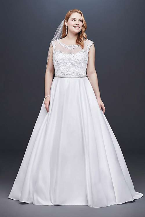 Ball Gown Satin Dress With Cap Sleeves. Simple Second Wedding ...