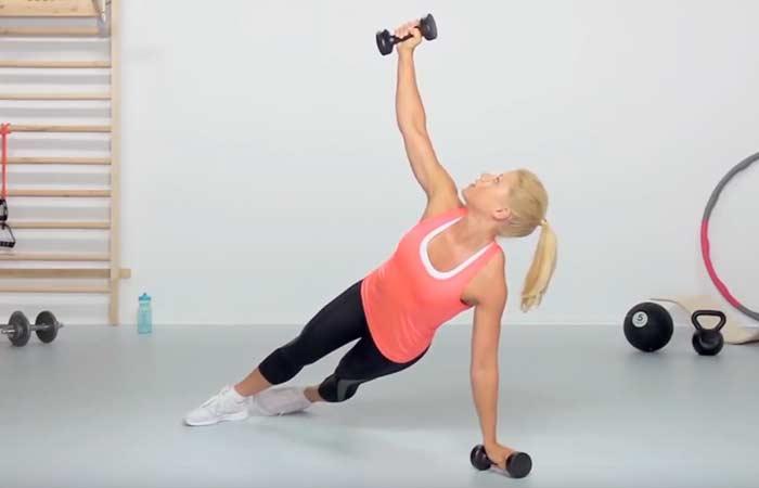 Chest Exercises For Women - Dumbbell Plank Rotation