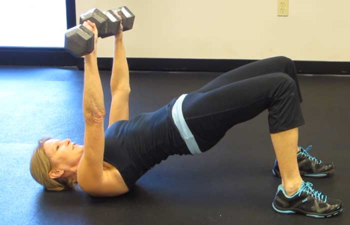 Chest Exercises For Women - Dumbbell Bridge Chest Press