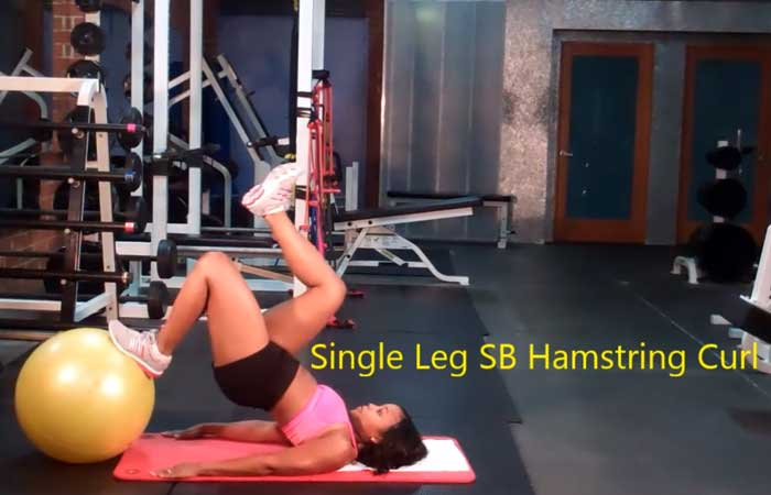 Bridge Exercises - Single Leg Stability Ball Hamstring Curl
