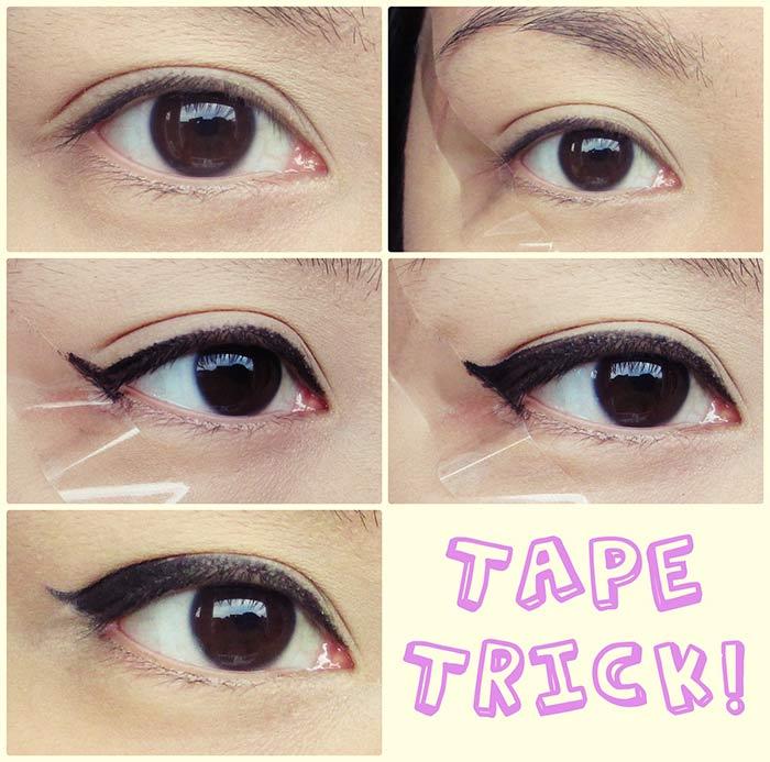 Creando perfecto delineador de ojos alado con cinta