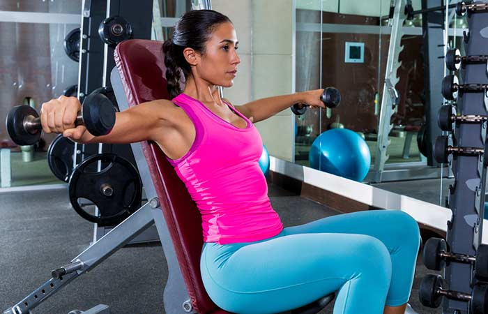 Chest Exercises For Women - Seated Dumbbell Fly