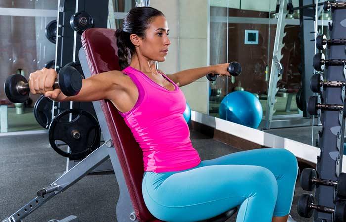 Chest Exercises For Women - Seated Dumbbell Fly