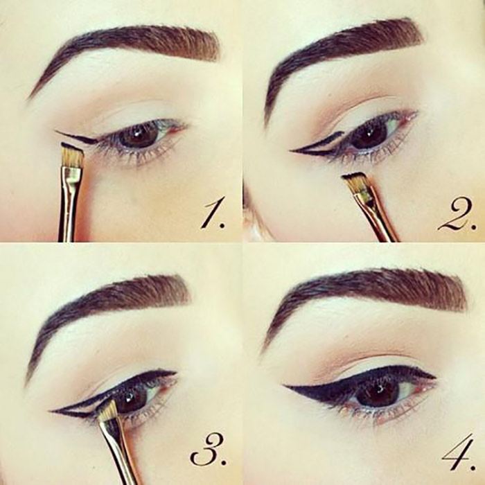Creating Perfect Winged Eyeliner With Angled Eyeliner Brush