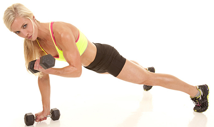 9. Plank With Arm Curl