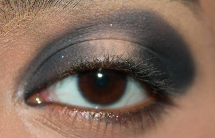 Black and White Eye Makeup Tutorial - Step 3: Apply A Matte Grayish Black Eyeshadow