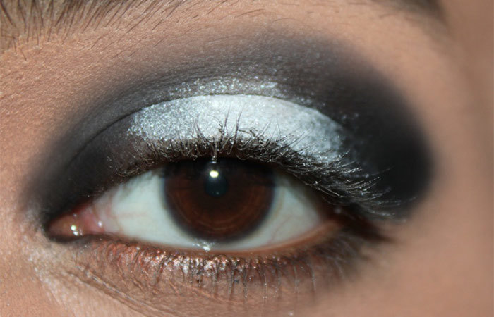 Black and White Eye Makeup Tutorial - Step 4: Apply a Shimmery White Eyeshadow