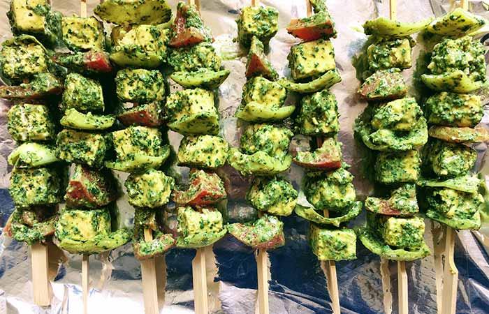 Hariyali Paneer Snacks Without Oil (Paneer Tikka)