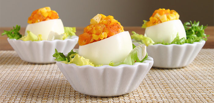 Deviled Egg Recipes - Cheesy Slamon Deviled Eggs