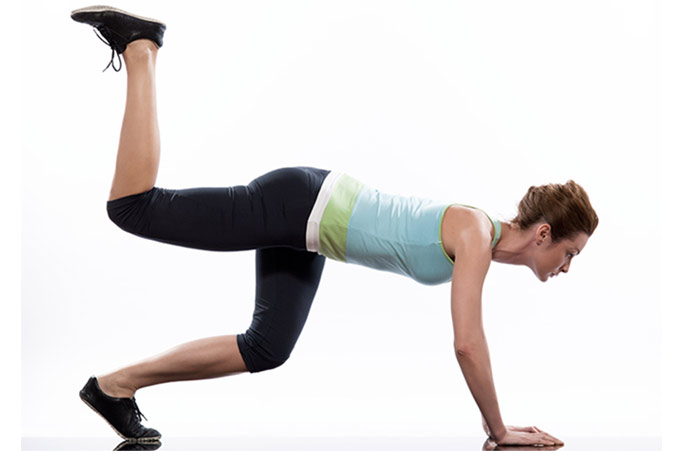 Plank Exercises - Plank With Donkey Kicks