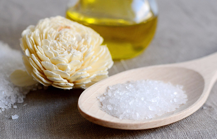 8. Olive Oil With Sea Salt For Acne Scars