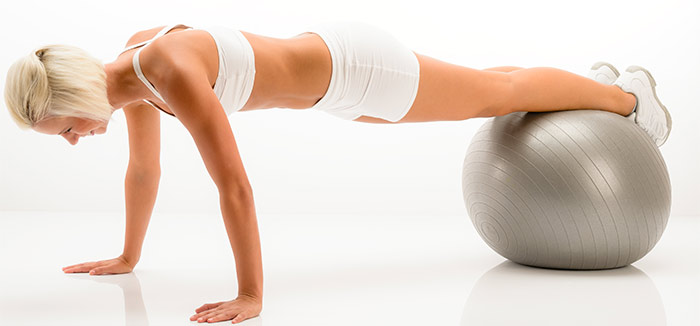 Plank Exercise - Plank With Legs On Exercise Ball