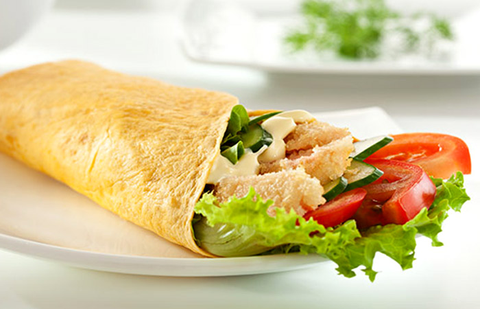 Low Calorie Lunch - Caesar Salmon Wrap