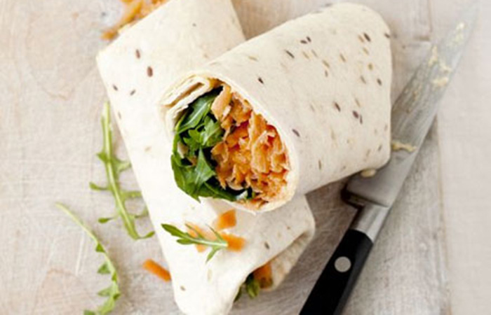 Low Calorie Lunch - Carrot And Houmous Roll-ups