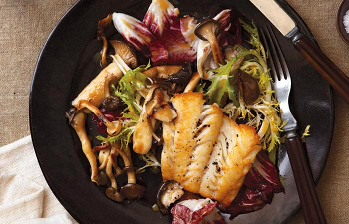 Low Calorie Lunch - Haddock With Warm Frisee And Mushroom Salad