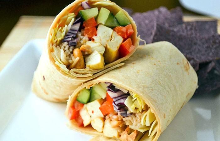 Low Calorie Lunch - Peanut Tofu Wrap