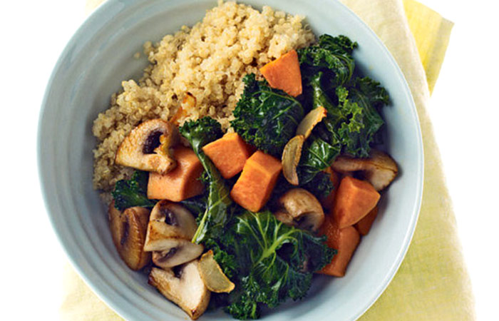 Quinoa With Mushrooms, Kale And Sweet Potatoes