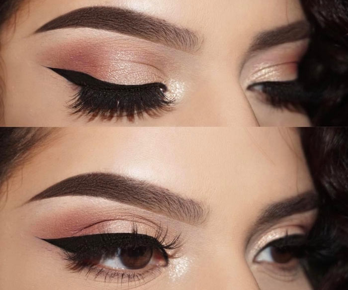 Rose Gold Eyeshadow Makeup For Brown Eyes
