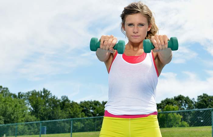 Shoulder Exercises For Women - Dumbbell Front Raises