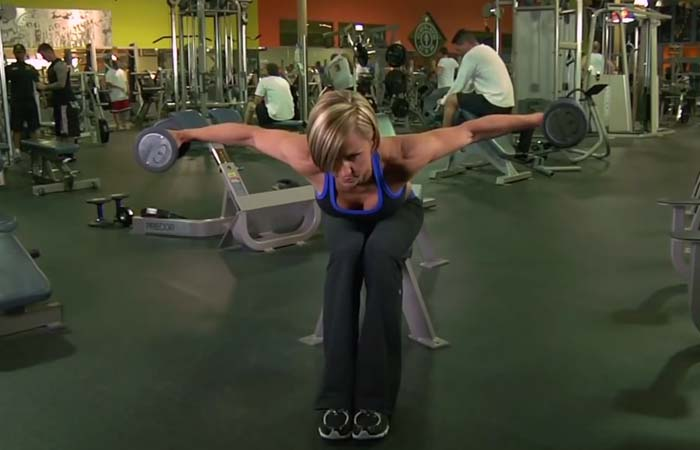 Shoulder Exercises For Women - Seated Bent Over Rear Delt Raise