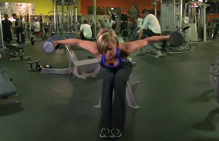 Shoulder Exercises For Women - Seated Bent Over Rear Delt Raise