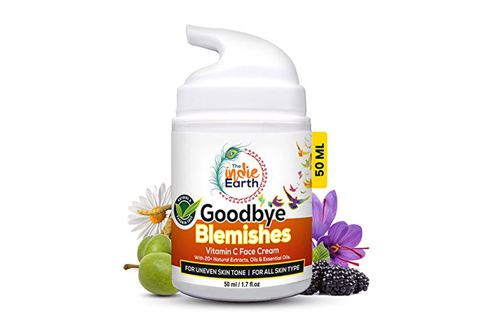 Best Anti-Blemish Face Cream The Indie Earth Goodbye Blemishes Vitamin C Face Cream