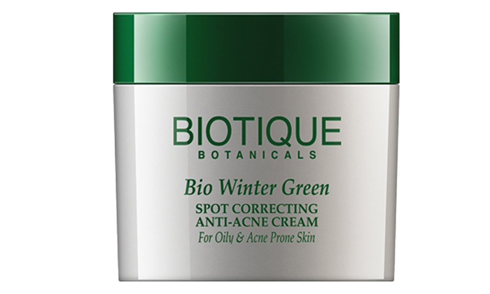 Creams For Dark Spots - Biotique Bio Winter Green Spot Correcting Anti-Acne Cream