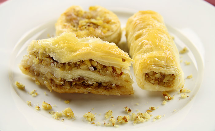 Persian Spiced Baklava Rolls With Orange Blossom Syrup
