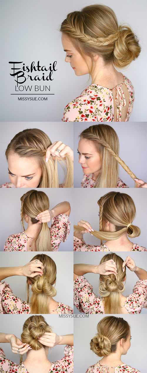 Updo Hairstyles - The Fishtail Braid Low Bun