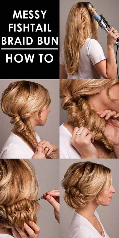 Updo Hairstyles - The Messy Fishtail Braided Bun