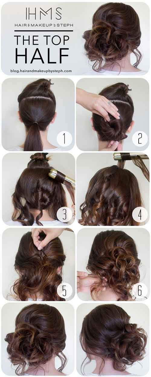 Updo Hairstyles - The Top Half Bun