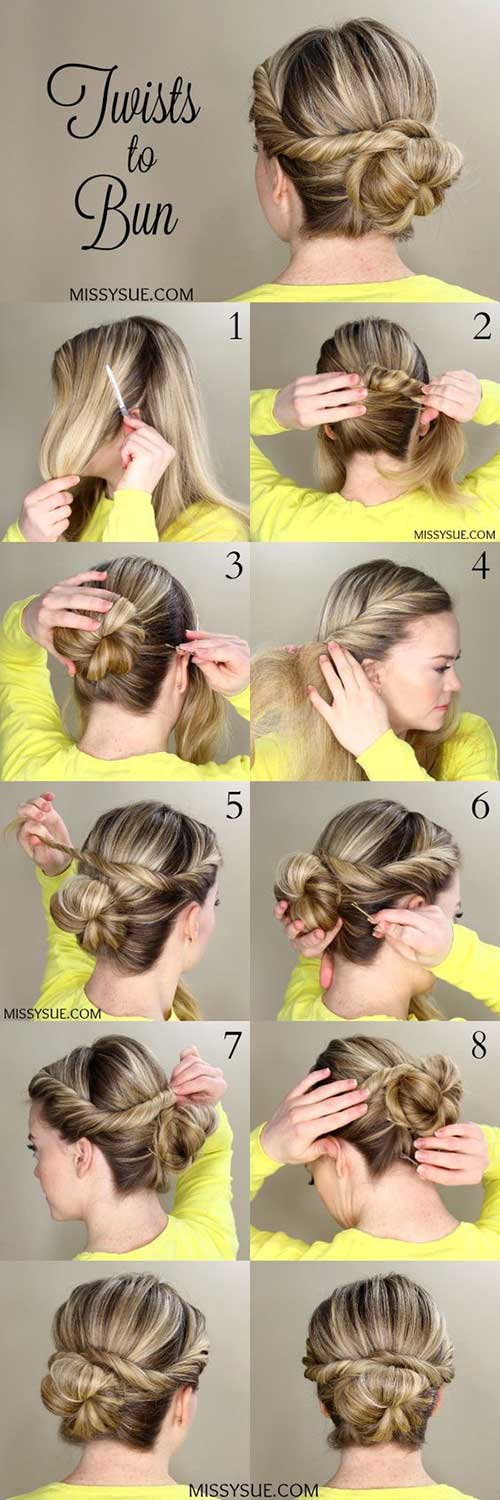 Twists To Bun Updo