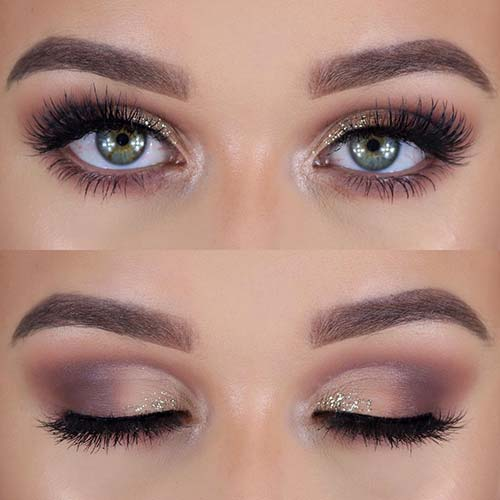 Makeup For Green Eyes - The Taupe And Glitter Cut-Crease Look